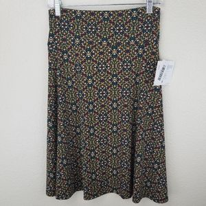 LuLaRoe Azure Red Blue Brown Geometric Skirt S